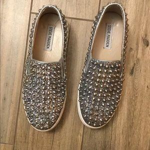 Steve Madden slip on spike and glitter shoes